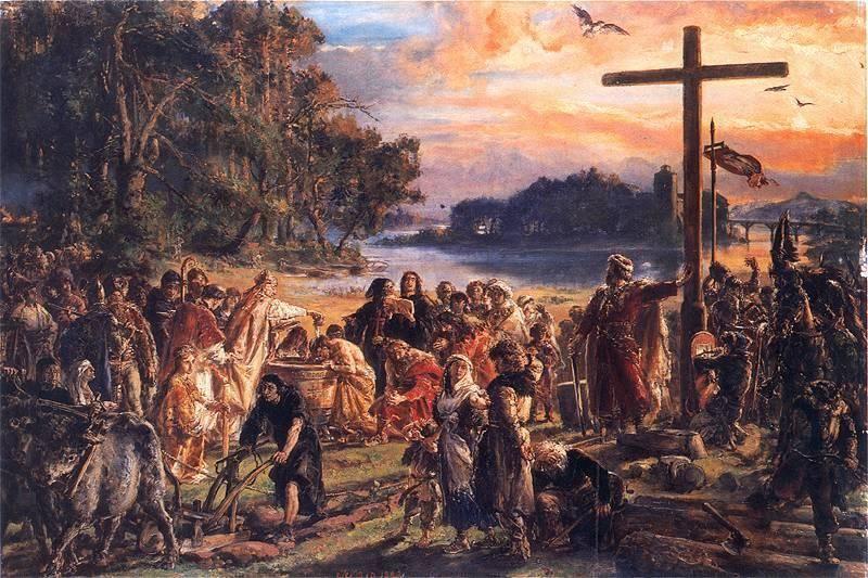 Znalezione obrazy dla zapytania chrzest polski w tle z lednica