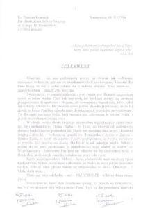 Pierwsza strona testamentu ks.&nbsp;Damiana Kominka</noscript> Archiwum parafii Rusinowice