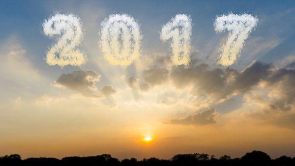 Cloud shape number 2017 and beautiful sunset sky