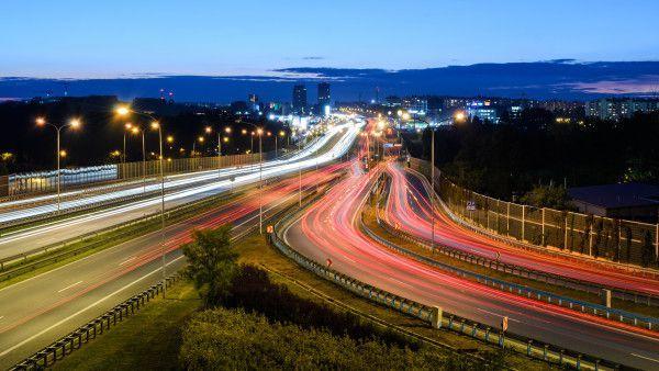 Freeway in Katowice in the night.