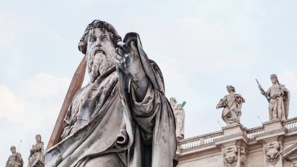 Statue Paul the Apostle close up in Vatican