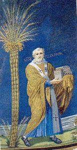Fragment mozaiki znad prezbiterium wKościele Św. Kosmy iDamiana wRzymie