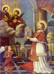Papież Feliks prezentuje kościół świętym Kosmie iDamianowi: Painting from SS Cosma e Damiano. Early 1600s, Tuscan school