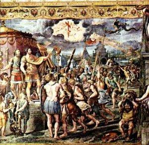 Wizja Konstantyna nafresku autorstwa uczniów Rafaela, Sala Konstantyna wStanzach Watykańskich