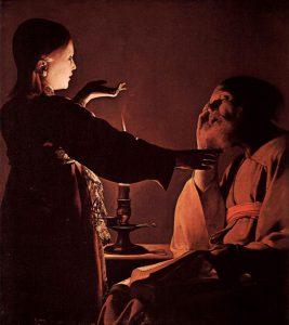 Anioł odwiedza św.Józefa napłótnie Georgesa de La Tour