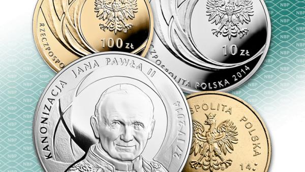 Od dziś w obiegu monety kolekcjonerskie NBP przed kanonizacją Jana Pawła II