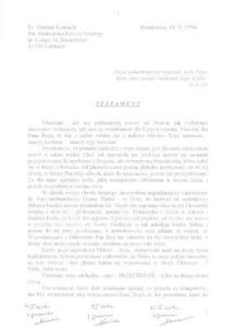 Pierwsza strona testamentu ks.Damiana Kominka Archiwum parafii Rusinowice