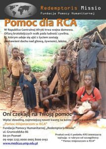 """""""Redemptoris Missio""""  rozpoczyna akcję pomocy dla RCA"""