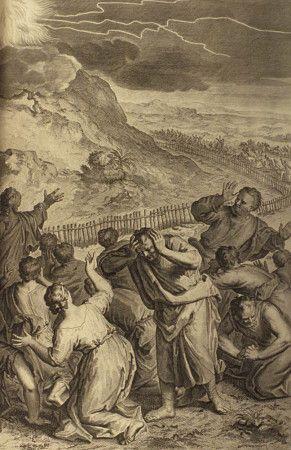 Promulgacja Prawa na Górze Synaj, z Biblii w rysunkach Gerarda Hoe 1728 r.