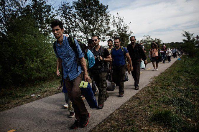 Refugees Cross into Hungary