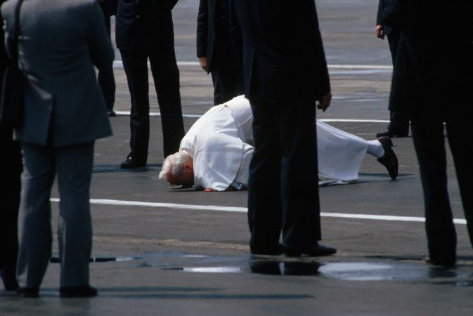 Pope John Paul II Kissing the Ground