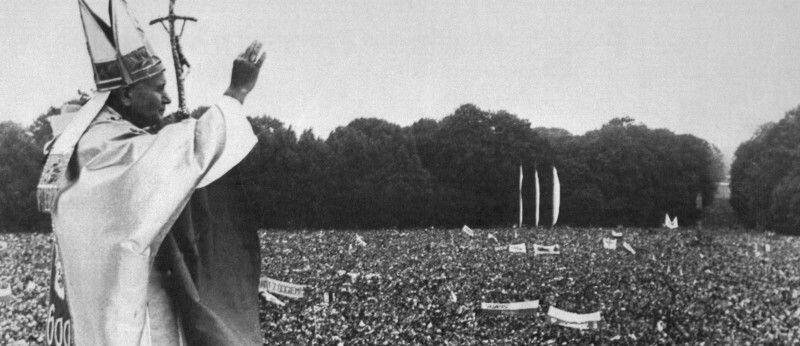 Pope John Paul II Blessing Crowd