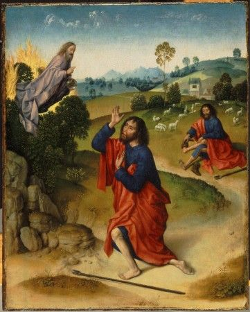 """""""Mojżesz igorejący krzew"""", Dirk Bouts, XV w."""