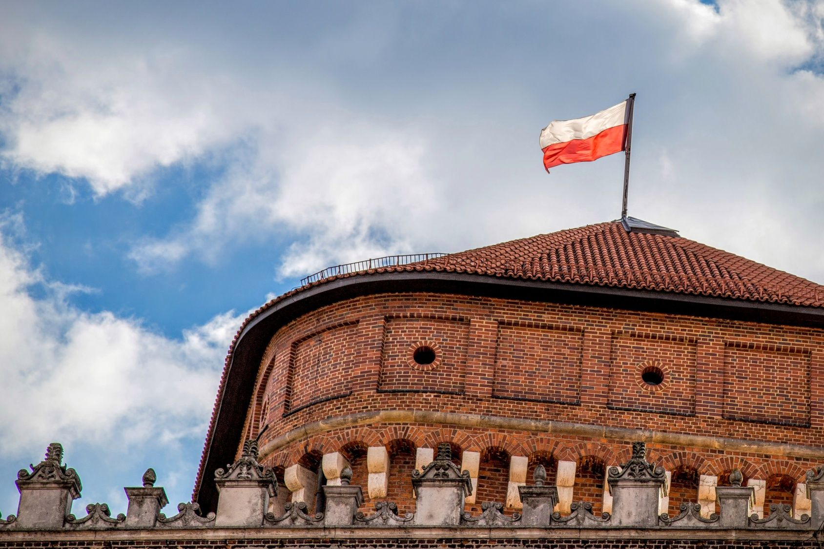 Polish flag on the castle
