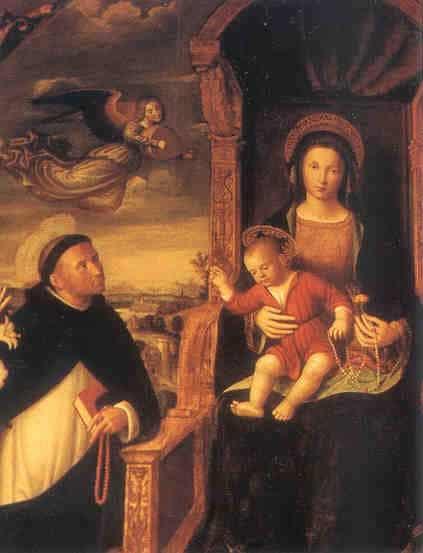 Średniowieczny obraz nieznanego autora, św. Dominik otrzymuje różaniec